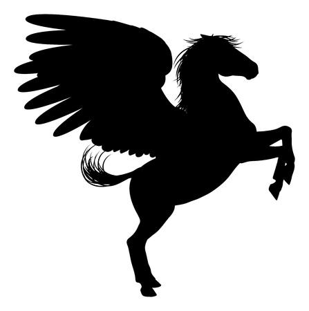 Pegasus mythischen geflügelten Pferd in Silhouette Standard-Bild - 48395381
