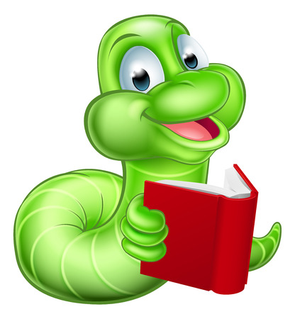 An illustration of a happy cute green cartoon caterpillar worm bookworm mascot reading a book