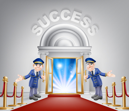 Success door concept of a doormen holding open a door at a red carpet entrance with velvet ropes. Light streaming through it, could be the door to new career.