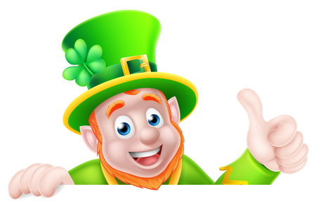 Leprechaun cartoon St Patricks Day character peeking above a sign and giving a thumbs up