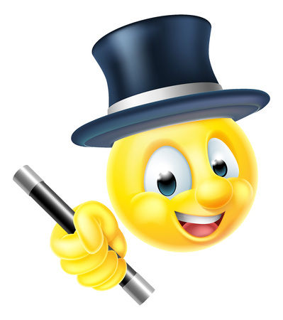 An emoji emoticon smiley face magician character holding a magic wand and wearing a top hat