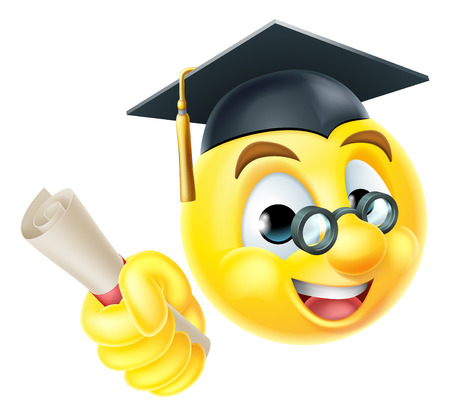 An emoji emoticon smiley face graduate graduation character holding their diploma scroll certificate and wearing a mortar board cap hat Vectores