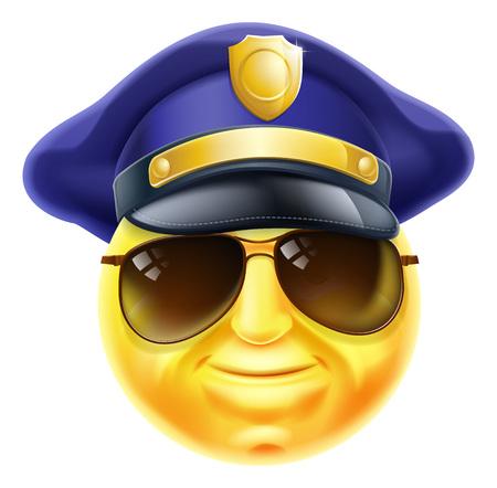 Emotikon Smiley emotikon twarz mężczyzna policja, policjant lub strażnik znaków