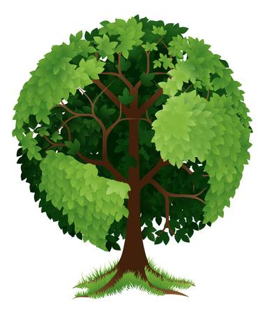 Eine konzeptionelle Darstellung eines Baumes in der Form einer Kugel oder der Erde wächst Standard-Bild - 48623923
