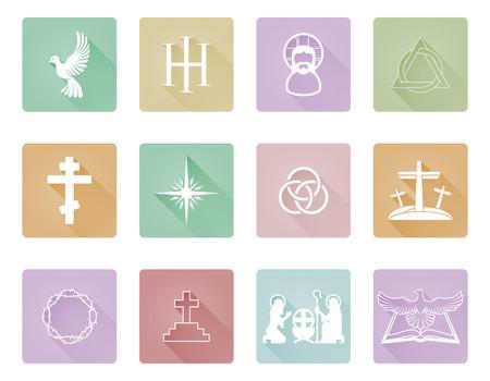 Un conjunto de iconos cristianos y símbolos como la paloma, la cruz y los símbolos de la trinidad Ilustración de vector