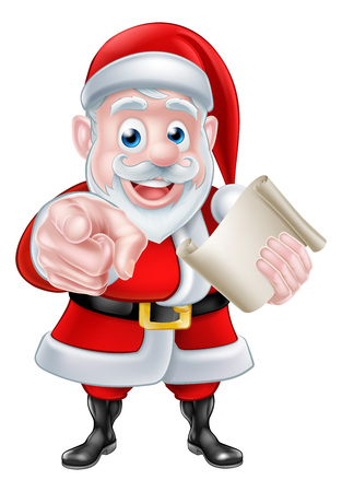 Santa wants or needs you Christmas illustration of happy cartoon Santa Claus pointing at the viewer. Could be asking for help with Christmas charity or Christmas event Vectores
