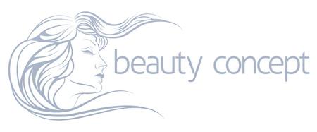 美しい、抽象的な梨花のイラストに直面します。美容院、スパや他の美容ライフ スタイルのための概念を使用してください。  イラスト・ベクター素材