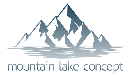 An illustration of a mountain range over a lake or river Ilustrace