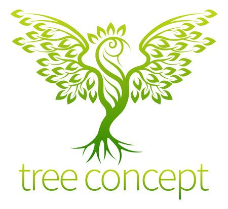 Vogelboom begrip van een pictogram van een boom groeit in de vorm van een vogel of Phoenix Stock Illustratie