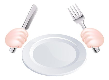 Cartoon illustration of hands holding a knife and fork with plate Çizim