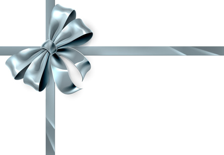 A beautiful silver ribbon and bow from a Christmas or other wrapping gift  イラスト・ベクター素材
