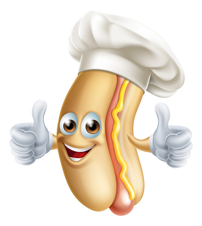 Cartoon hot dog sausage in a bun mascot man character in a chef cook hat giving a thumbs up Illustration
