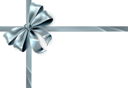 A beautiful silver ribbon and bow from a Christmas or other wrapping gift Иллюстрация