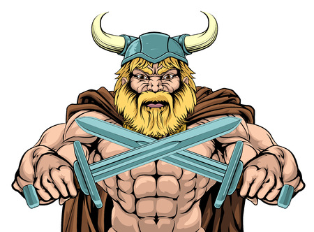A mean looking Viking Warrior sports mascot holding two swords