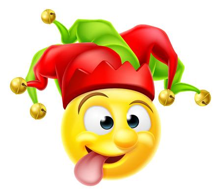 Un bufón de la corte de dibujos animados emoji payaso carácter emoticono tirando de una cara graciosa