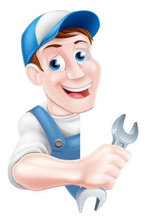 Cartoon mechanic or plumber service handyman worker man holding a spanner leaning around a sign Çizim
