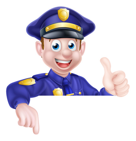 A cartoon friendly policeman leaning over a sign giving a thumbs up and pointing at it