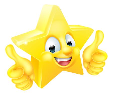 Estrela de desenhos animados emoji emoticon personagem de mascote desistindo polegares
