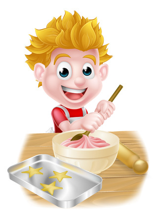 Cartoon boy baking and cooking as a chef in the kitchen Illustration