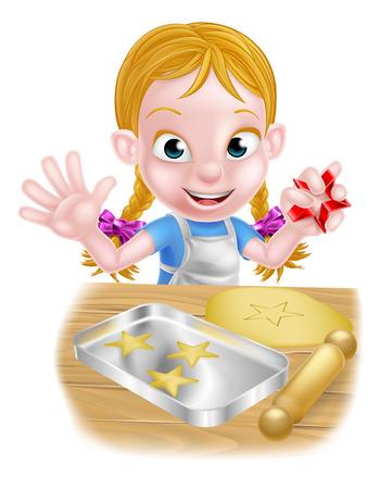 Cartoon girl baking cakes and cookies