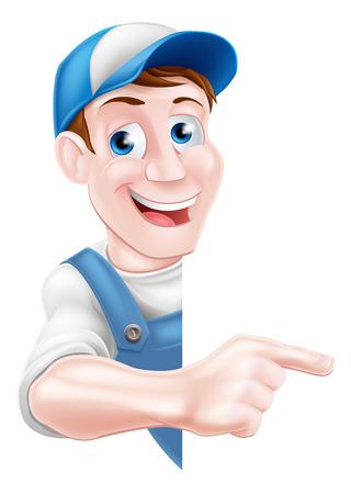 A pointing cartoon mechanic, plumber, handyman, decorator or gardener Ilustração