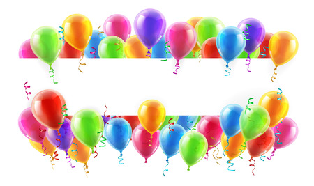 A balloons banner sign with party balloons and confetti