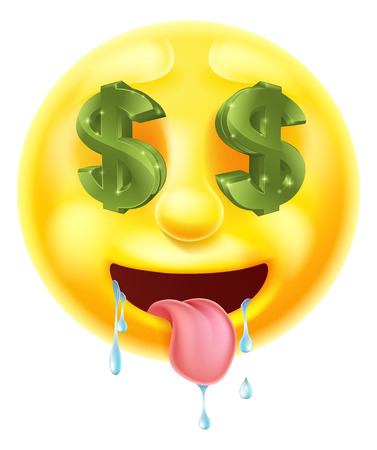 Dollar sign eyes drooling emoticon emoji character icon