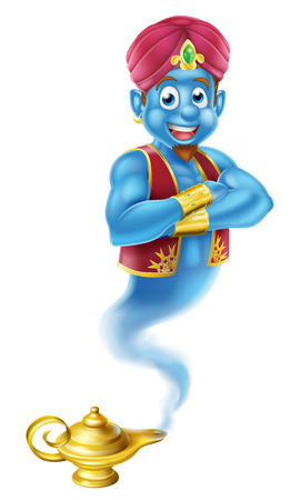 A Cartoon Genie like in the story of Aladdin coming out of a magic lamp