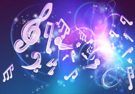 Een muziek achtergrond met muzieknoten en een neon zoals gloed