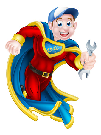 Cartoon mechanic or plumber superhero man holding a spanner Zdjęcie Seryjne - 49395226