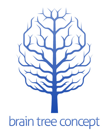 A conceptual illustration of a tree growing in the shape of a human brain