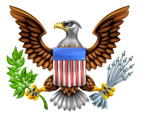 Diseño American Eagle con águila calva, como la que se encuentra en el Gran Sello de los Estados Unidos con una rama de olivo y las flechas con el escudo de la bandera americana Ilustración de vector