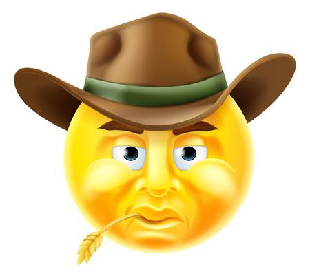 Cartoon emoji émoticône cowboy caractère smiley Banque d'images - 49395248