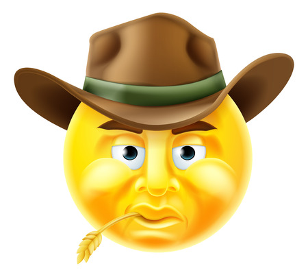 Cartoon emoji emoticon cowboy smiley face character Ilustracja