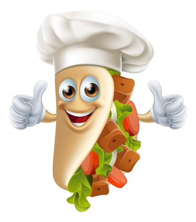 An illustration of a healthy looking cartoon souvlaki kebab man giving a thumbs up