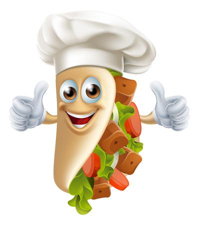 Un esempio di una sana ricerca vignetta souvlaki kebab uomo dando un pollice in alto Archivio Fotografico - 49395249