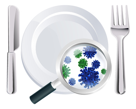 Microscopic bacteria cutlery concept of a plate, knife and fork place setting with a magnifying glass showing microscopic bacteria or viruses