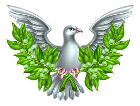 비둘기는 평화의 상징 올리브 가지를 교차 들고