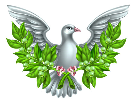Dove holding crossed olive branches, a symbol of peace