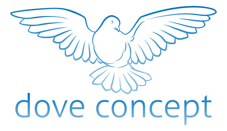 A conceptual illustration of a dove bird icon design