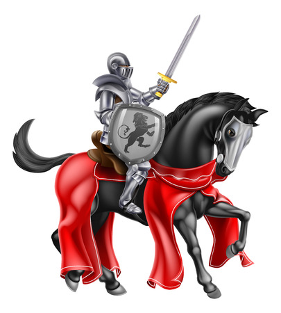 A knight holding a sword and shield on the back of a black horse Ilustrace
