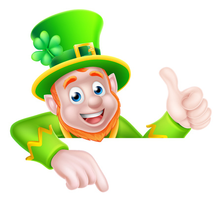 Leprechaun cartoon St Patricks Day character peeking above a sign pointing down at it and giving a thumbs up