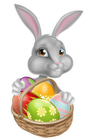 Cartoon Easter bunny peeking around a basket full of chocolate Easter eggs Vettoriali