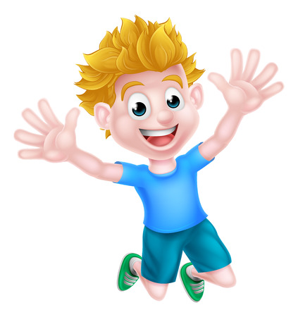 A happy cartoon boy kid jumping for joy.