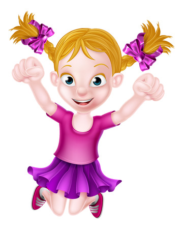 Happy cartoon young girl jumping for joy with fists in the air Иллюстрация