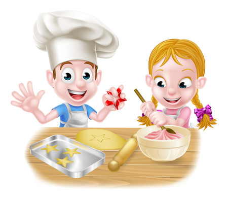 Cartoon kids baking cakes and biscuits as chefs in the kitchen