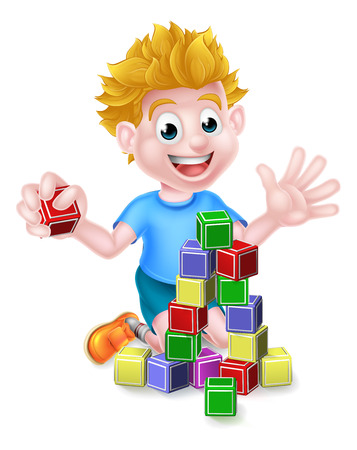 Un garçon de bande dessinée heureux jeune enfant jouant avec la construction ou d'apprentissage blocs Banque d'images - 49632273