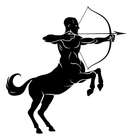 Centaur concept of mythical centaur archer half horse half man character aiming a bow and arrow Illustration
