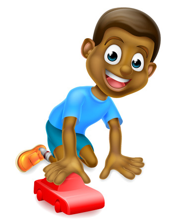 A cartoon young black boy child playing with a toy red car