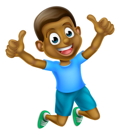 A happy cartoon young black boy jumping for joy with two thumbs up